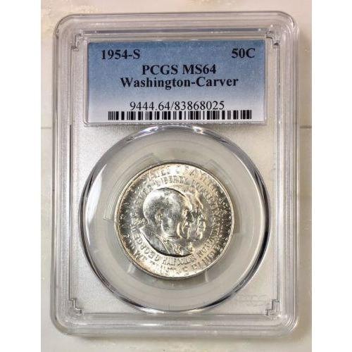 1954 S Washington Carver Half Pcgs Ms64 *rev Tyes* #802522 Coin