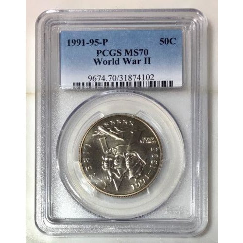 1991-95-P World War Ii Half Dollar Pcgs Ms70 #410285 Coin