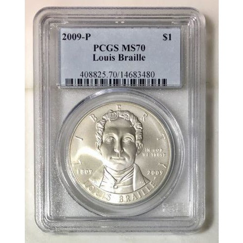 2009 Louis Braille Dollar Pcgs Ms70 #348046 Coin