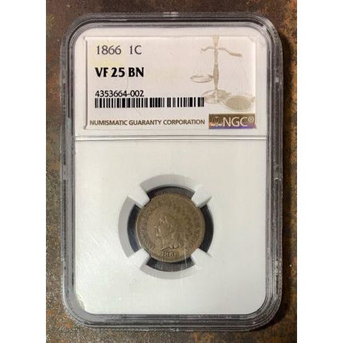 1866 Indian Cent Ngc Vf25 Bn *rev Tyes* #400288 Coin