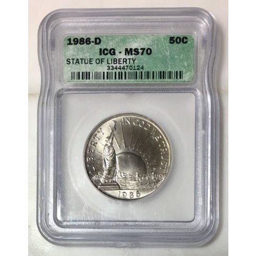 1986 D Statue Of Liberty Half Dollar Icg Ms70 *rev Tyes* #012499 Coin