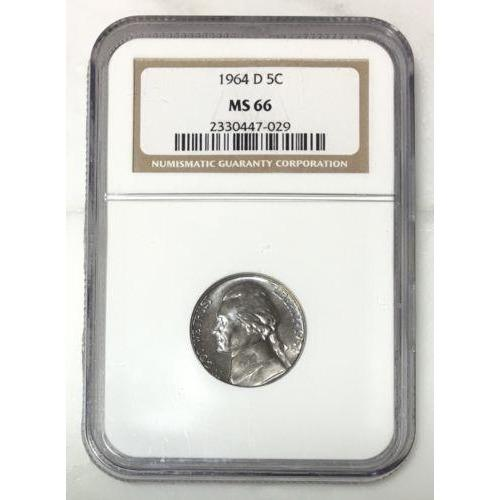 1964 D Jefferson Nickel Ngc Ms66 Rev Tyes 702958 Coin