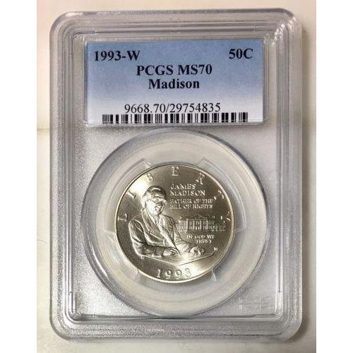 1993 W Madison Half Dollar Pcgs Ms70 #483545 Coin