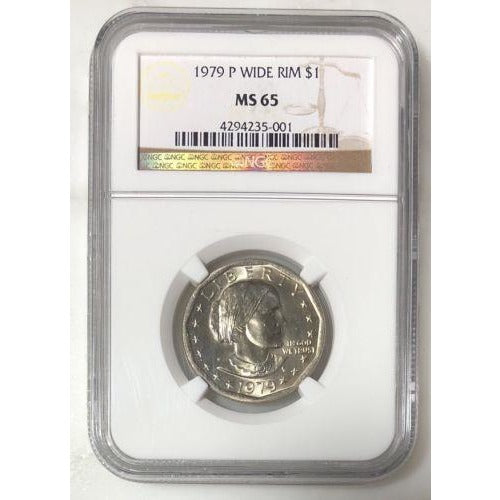 1979 P Wide Rim Susan B Anthony Dollar Ngc Ms65 #500153 Coin