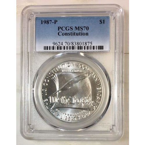 1987 Constitution Dollar Pcgs Ms70 *rev Tyes* #187568 Coin