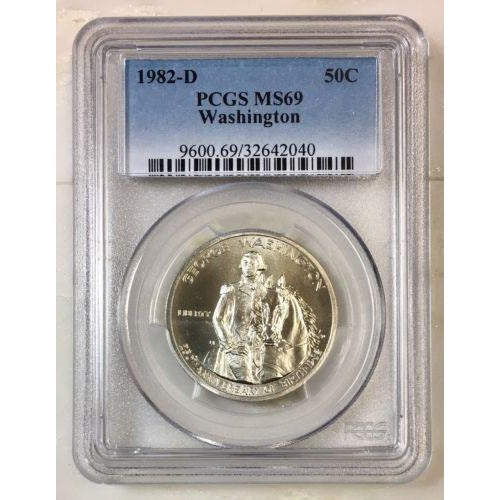 1982 D Washington Half Dollar Pcgs Ms69 *rev Tyes* #204069 Coin