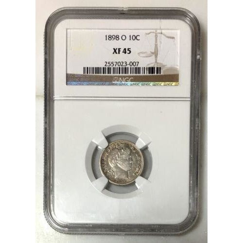 1898 O Barber Dime Ngc Xf45 *rev Tyes* #3007175 Coin