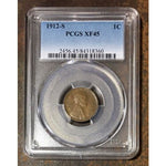 1912 S Lincoln Cent Pcgs Xf45 *rev Tyes* #836060 Coin