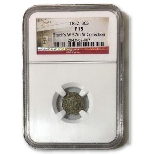 1852 Three Cent Silver Ngc F15 *rev Tyes* #200747 Coin