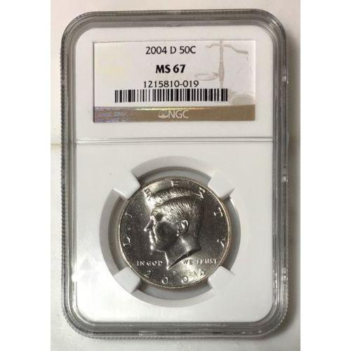2004 D Kennedy Half Dollar Ngc Ms67 *rev Tyes* #001927 Coin