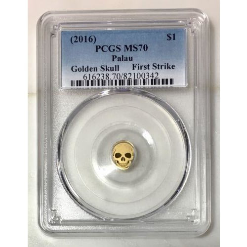 2016 Palau $1 Golden Skull Pcgs Ms70 *rev Tyes* #034290 Coin