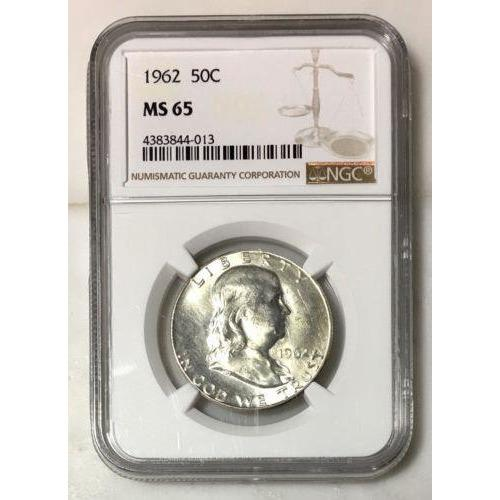 1962 Franklin Half Dollar Ngc Ms65 *rev Tyes* #401362 Coin