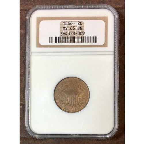 1866 Two Cent Piece Ngc Ms63 Bn #8009210 Coin