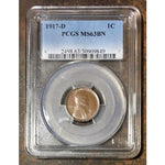 1917 D Lincoln Cent Pcgs Ms63Bn *rev Tyes* #9849162 Coin