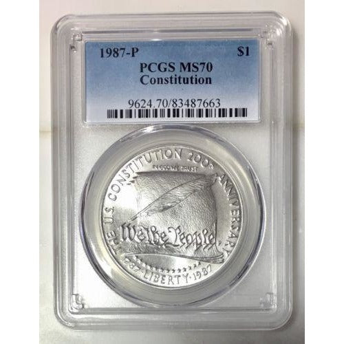 1987 Constitution Dollar Pcgs Ms70 *rev Tyes* #766360 Coin