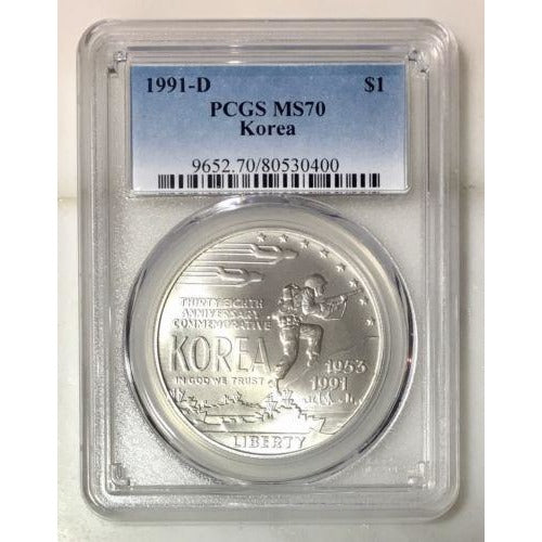 1991 D Korea Dollar Pcgs Ms70 *rev Tyes* #040079 Coin
