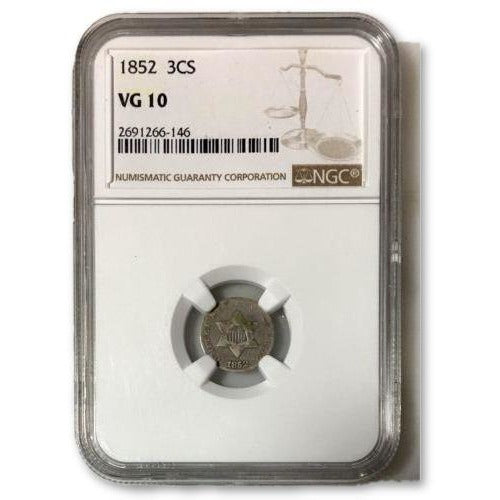 1852 Three Cent Silver Ngc Vg10 *rev Tyes* #614645 Coin