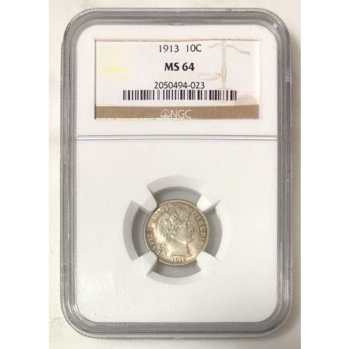 1913 Barber Dime Ngc Ms64 #4023204 Coin