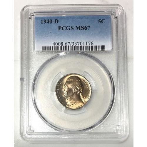 1940 D Jefferson Nickel Pcgs Ms67 *rev Tyes* #117699 Coin