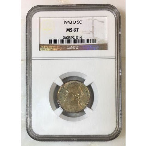 1943 D Jefferson Nickel Ngc Ms67 *rev Tyes* #201451 Coin