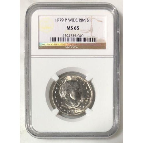 1979 P Wide Rim Susan B Anthony Dollar Ngc Ms65 #504053 Coin