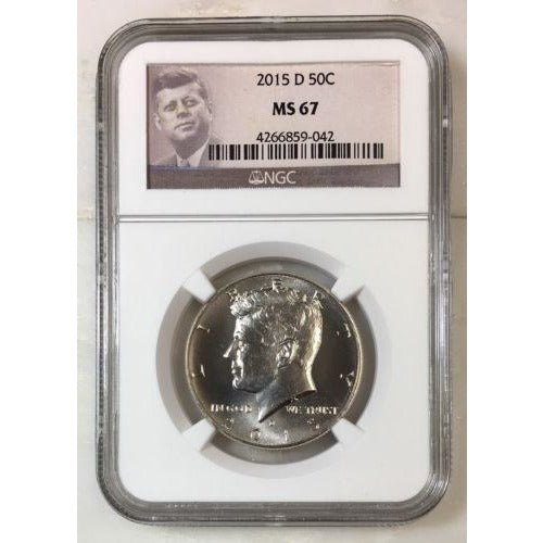 2015 D Kennedy Half Dollar Ngc Ms67 *rev Tyes* #9042 Coin