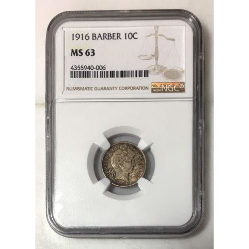 1916 Barber Dime Ngc Ms63 #0006149 Coin