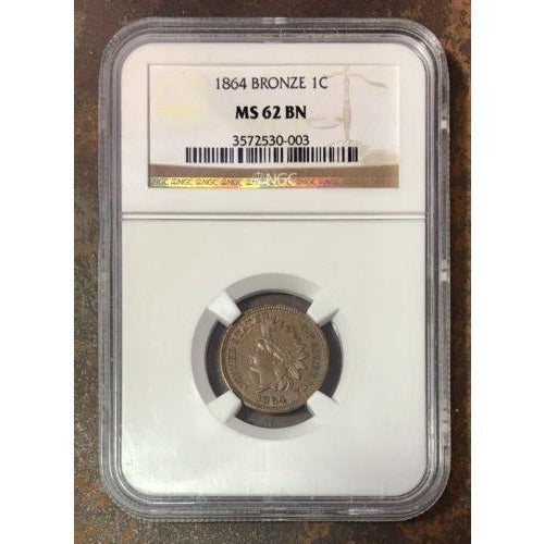 1864 Indian Head Cent Bronze Ngc Ms62 Bn *rev Tyes* #0003149 Coin