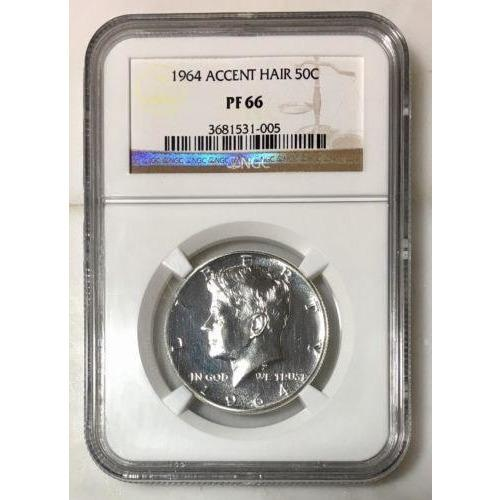 1964 Accent Hair Kennedy Half Ngc Pf66 *rev Tyes* #100592 Coin