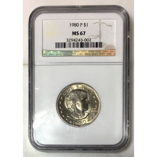 1980 P Susan B Anthony Dollar Ngc Ms67 #300280 Coin