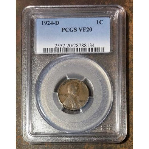1924-D Lincoln Cent Pcgs Vf20 *rev Tyes* #813449 Coin