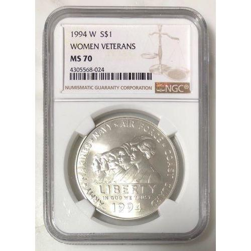 1994 W Women Veterans Dollar Ngc Ms70 #8024 Coin
