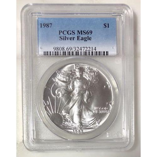 1987 Silver Eagle Dollar Pcgs Ms69 *rev Tyes* #221442 Coin