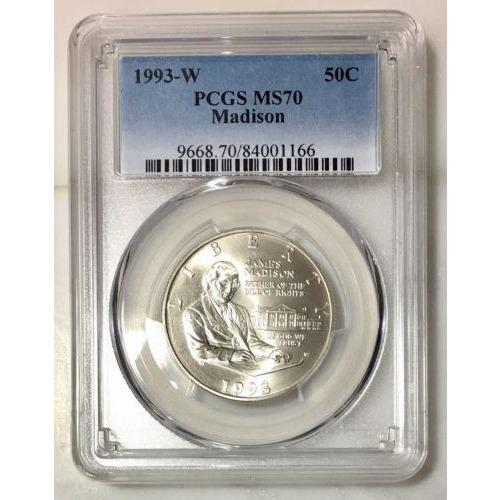 1993 W Madison Half Dollar Pcgs Ms70 #116655 Coin