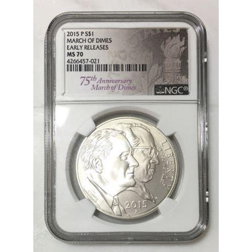 2015 P March Of Dimes Silver $1 Ngc Ms70 #702168 Coin