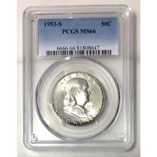1953 S Franklin Half Dollar Pcgs Ms66 *rev Tyes* #8647195 Coin
