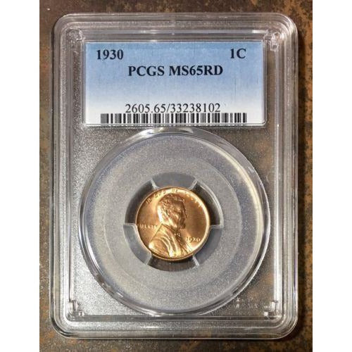 1930 Lincoln Cent Pcgs Ms65 Rd *rev Tyes* #810238 Coin