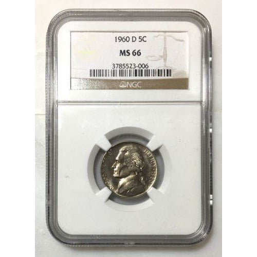 1960 D Jefferson Nickel Ngc Ms66 *rev Tyes* #3006 Coin