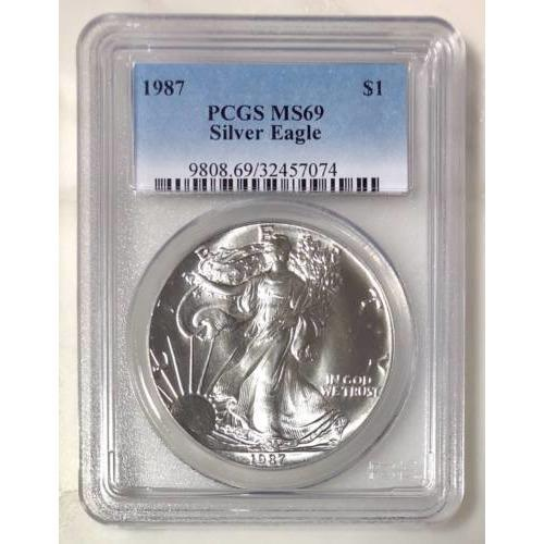 1987 Silver Eagle Pcgs Ms69 *rev Tyes* #707442 Coin