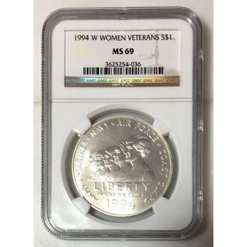 1994 W Women Veterans Dollar Ngc Ms69 #403636 Coin