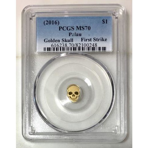 2016 Palau $1 Golden Skull Pcgs Ms70 *rev Tyes* #024890 Coin