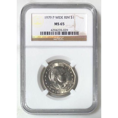 1979 P Wide Rim Susan B Anthony Dollar Ngc Ms65 #502953 Coin