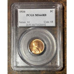 1934 Lincoln Cent Pcgs Ms66 Rd *rev Tyes* #6692 Coin