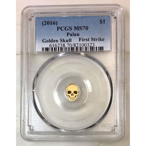 2016 Palau $1 Golden Skull Pcgs Ms70 *rev Tyes* #032391 Coin