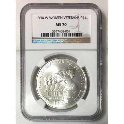1994 W Women Veterans Dollar Ngc Ms70 #805962 Coin