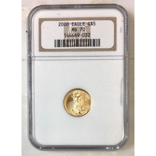 2000 Gold Eagle $5 Ngc Ms70 *rev Tyes* #9032189 Coin