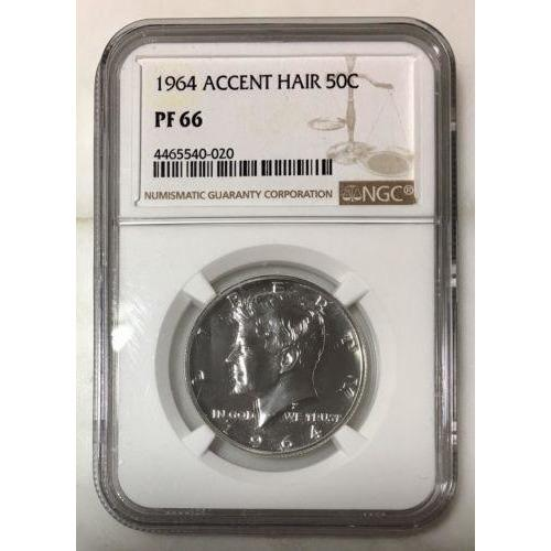 1964 Kennedy Half Accent Hair Ngc Pf66 *rev Tyes* #002076 Coin