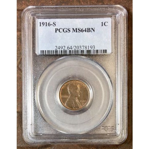 1916 S Lincoln Cent Pcgs Ms64 Bn *rev Tyes* #8193220 Coin