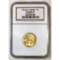 1986 W Liberty $5 Gold Ngc Ms70 *rev Tyes* #0005375 Coin
