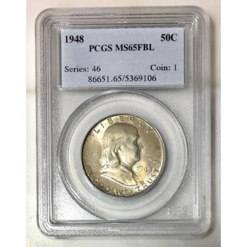 1948 Franklin Half Pcgs Ms65Fbl *rev Tyes* #9106100 Coin